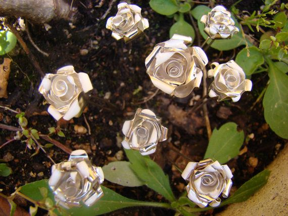 Rosa de plata /  Rosa de plata y esmalte blanco para por horivert