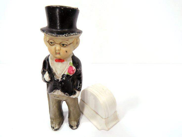 Grooms Cake Topper Bisque Doll  - Top Hat & Tails Tuxedo Doll - Vintage Wedding by UrbanRenewalDesigns on Etsy