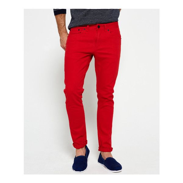 Superdry Skinny Jeans ($55) ❤ liked on Polyvore featuring men's fashion, men's clothing, men's jeans, red, mens super skinny jeans, mens patched jeans, mens jeans, mens zipper jeans and mens skinny jeans