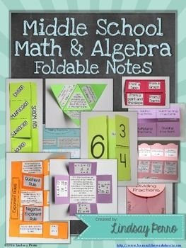 MIDDLE SCHOOL MATH FOLDABLE NOTES - TeachersPayTeachers.com