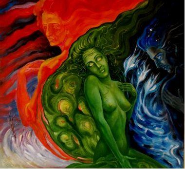 Художник Kadis. Лёд, Огонь и Трава | Фэнтези девушка и мужчины | Аллегория единства трех стихий | Купить картину у художника