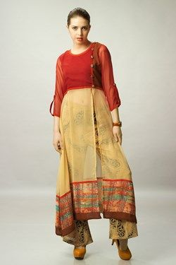 Kurtis, Beige and Red Chiffon Top With Beige Printed Pant