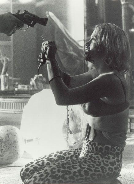 True Romance. Patricia Arquette kills James Gandolphini with a corkscrew, broken glass, hairspray and a cigarette lighter.
