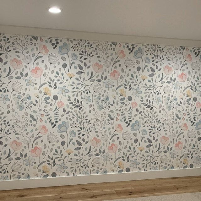 Posie Watercolor Floral Mural Traditional Or Removable Wallpaper Vinyl Free Non Toxic In 2021 Removable Wallpaper Floral Watercolor Mural