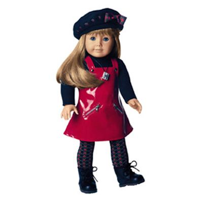 The Red Vinyl Jumper Outfit was the third meet outfit in the American Girl of Today line. It replaced the First Day Outfit in 1998 and was replaced by the Urban Outfit in 2000. Z