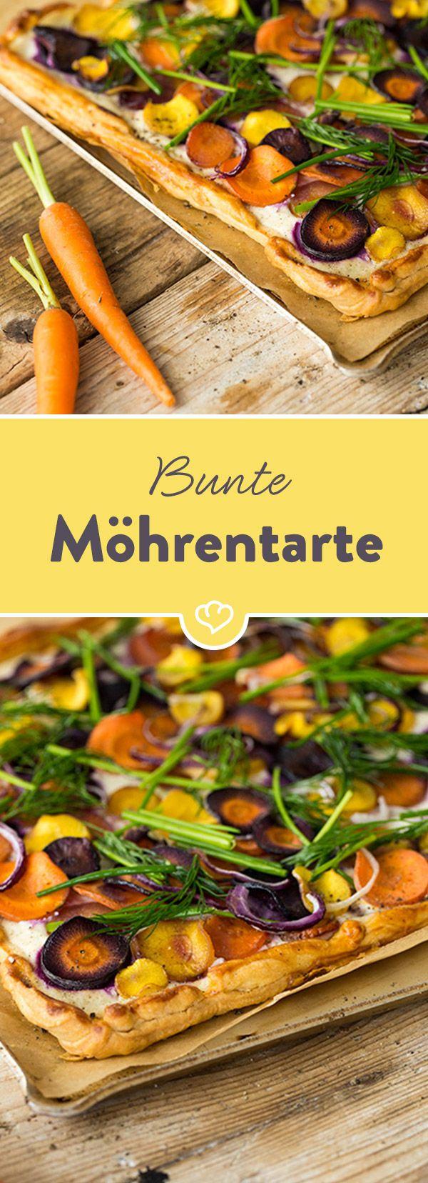 Luftiger Blätterteig mit Ricotta, belegt mit einem bunten Möhren-Trio und frischen Kräutern - für diese Tarte wirst du jede Pizza stehen lassen!