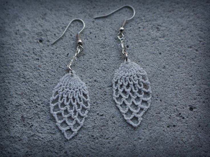 Earrings made of vintage lace doily