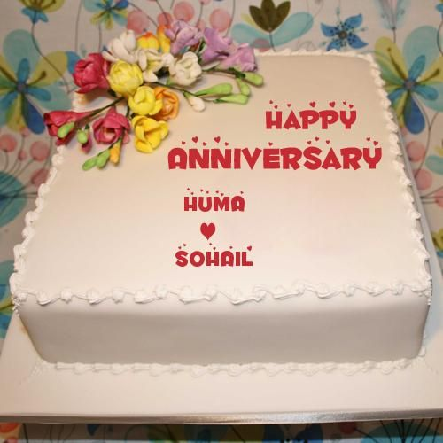 Happy Marriage Anniversary Square Floral Cake With Name