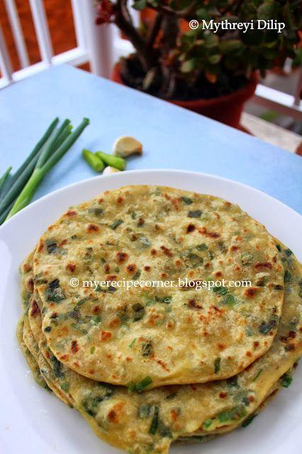 Mye's Kitchen: Spring Onion Paratha / Vengayathal Chapathi