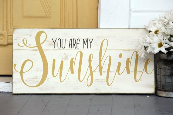 You are my sunshine wall art hand painted wood by SweetSignsOfLife