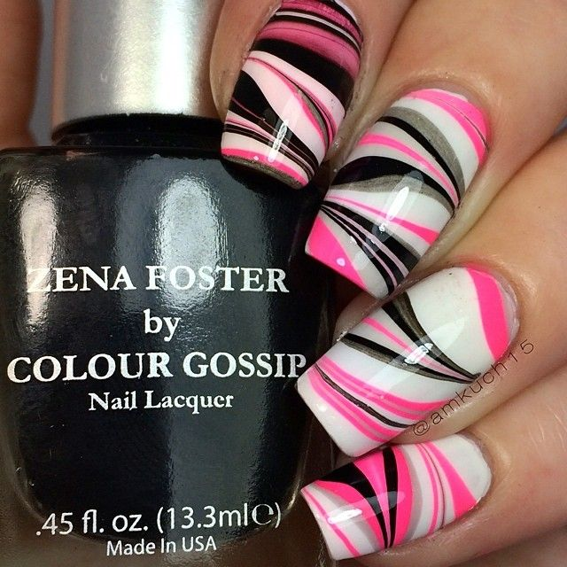 Bright watermarble nail art ===== Check out my Etsy store for some nail art supplies https://www.etsy.com/shop/LaPalomaBoutique