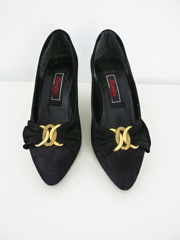 Gr. 36 Vintage 80ies Pumps golden bow - Visual-Vampire - Wysokie obcasy