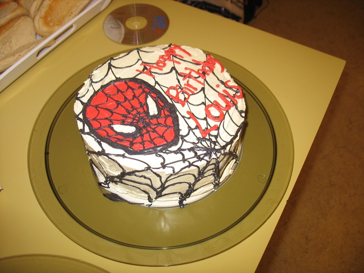I think I've made about 50 of these spiderman cakes!!  The webs are so simple to do, but really effective!!