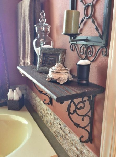 Reclaimed wood with wrought iron corbels