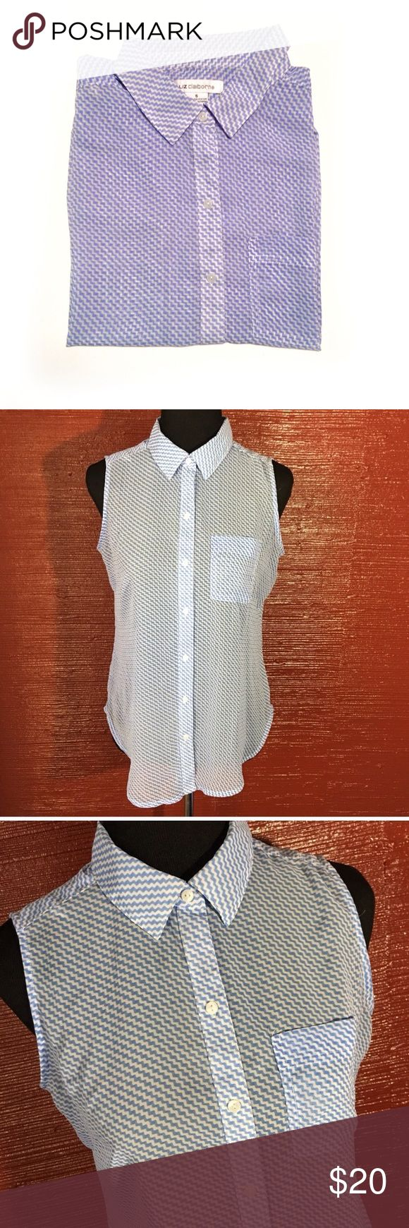 Liz Claiborne Button Down Sleeveless Shirt * Liz Claiborne brand * Sleeveless tank top style * Light blue and white  * Button down * Front chest pocket * Sheer material (you will need to wear a cami underneath) * Size small * Made in Vietnam  * 100% polyester  * Pre-Owned, excellent condition Liz Claiborne Tops Blouses