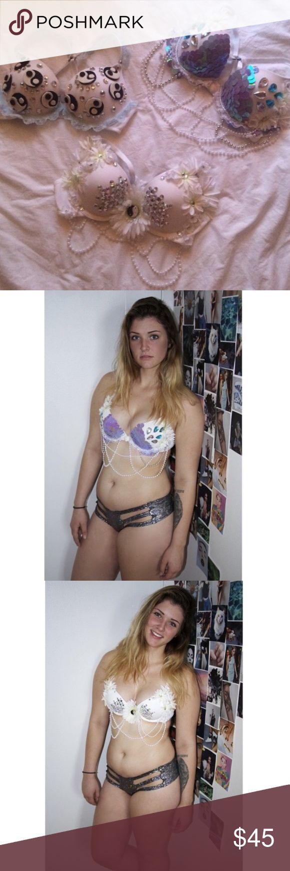 Yin Yang Daisy + Mermaid Scales Rave Bra Duo (Top left bra not included) Embellished bras perfect for any event, festival, party, or costume! Push up with racerback convertible straps. Both size 34B/32C Intimates & Sleepwear Bras