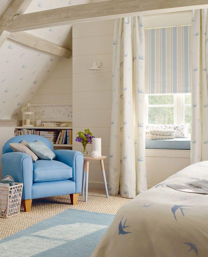 White & Blue Drapery Fabric | Blue Birds Seaspray Fabric                                                                                                                                                                                 More