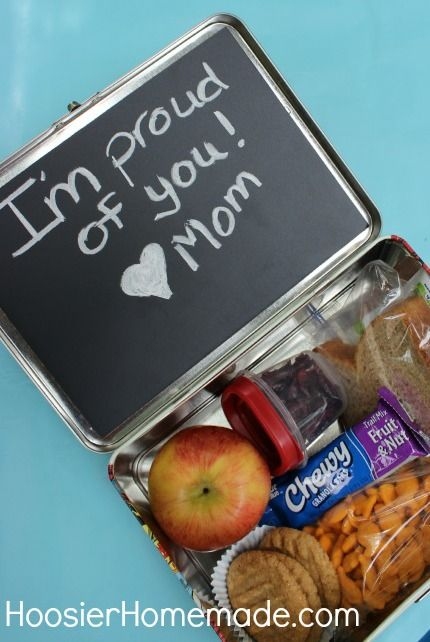 Surprise your little one with a cute message inside their lunchbox with an easy chalkboard DIY. | School lunches
