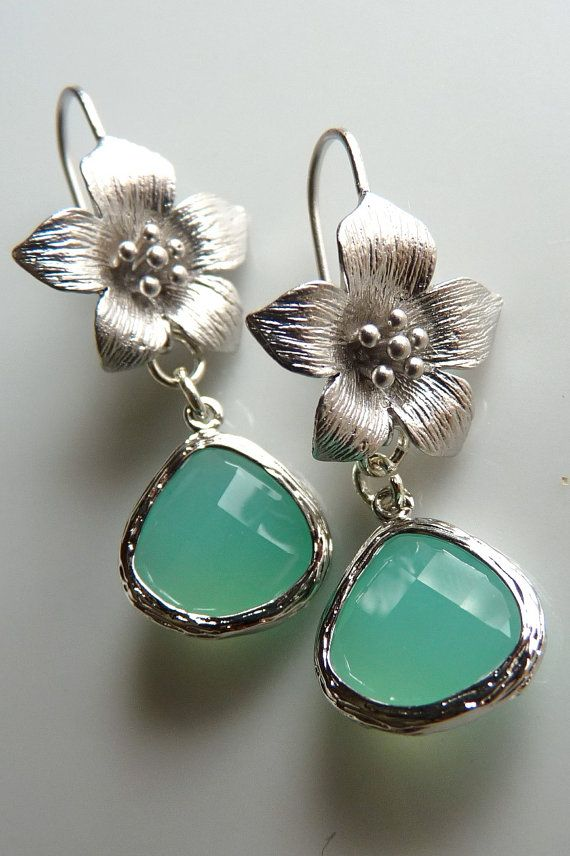 Matte Rhodium Plated Flower Mint Aqua Dangle by JeweltoneJewelry