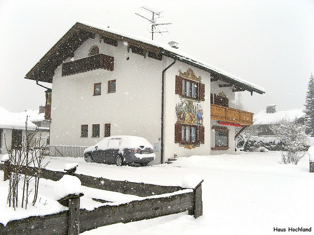 Snowstorm in Krün, Bavaria, Germany