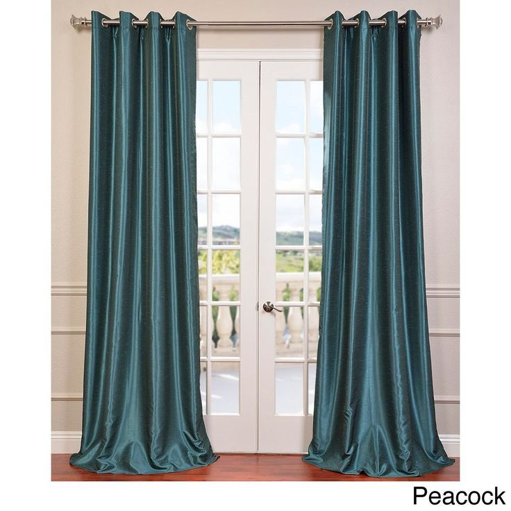 Exclusive Fabrics Textured Dupioni Faux Silk 108 Inch Blackout Grommet Curtain Panel 50 X 108 108inc Faux Silk Curtains Half Price Drapes Grommet Curtains