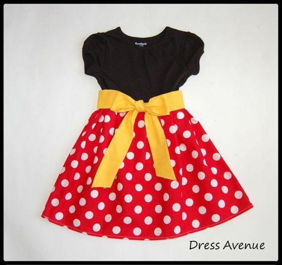 Vestido de Minnie ** Vestido de Mickey Mouse ** las niñas niño ** marco puntos de polca negro, rojo, amarillo ** vestido para Disney World ** Vestido de Minnie Mouse