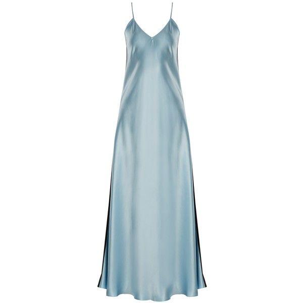 Racil Geiko V-neck silk-satin slip dress (2,280 ILS) ❤ liked on Polyvore featuring dresses, blue multi, silk satin slip dress, lightweight dresses, v neck slip dress, silk satin dress and light weight dresses