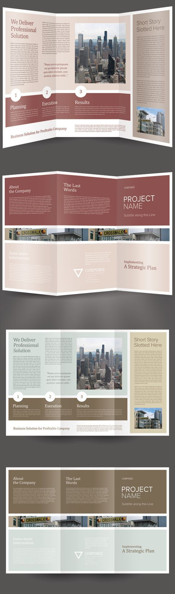 Corpobiz Trifold Brochure Template by Kinzi Wijaya: