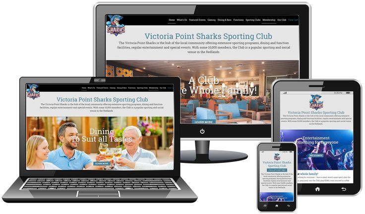 Dynamic website for Victoria Point Sharks Sporting Club featuring event ticketing and membership renewals.