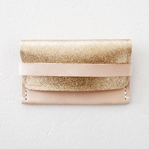 Leather Card Case  Champagne Gold Glitters by ODSYWorkshop on Etsy