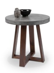 """Devons End Table A mix of industrial and rustic design, this end table features a substantial concrete round top and is finished with a light espresso wood base. Crafted from a natural concrete mix, each piece will look different, with variations of grey hues that will enhance over time. Special Pricing for In Stock only. Dimensions: 24"""" round x 24.5""""h"""