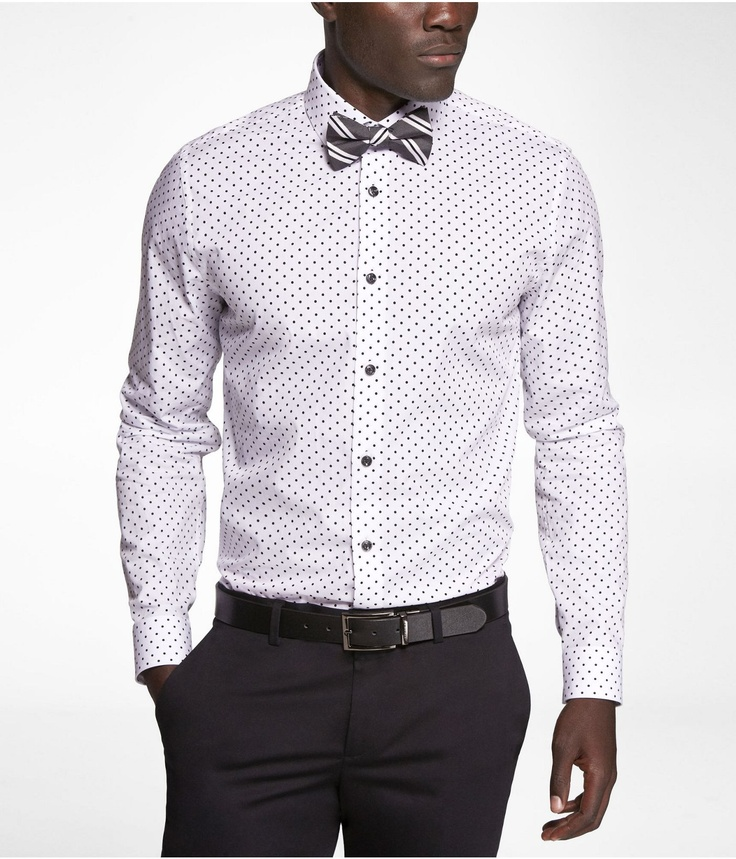 Fitted polka dot shirt express nice bow tie mens for Express shirt and tie