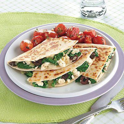 One-Dish Meals: Spinach and Feta Quesadillas