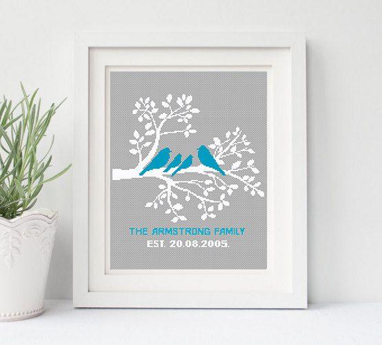 Family Tree Cross Stitch Pattern Personalized Bird by NikkiPattern