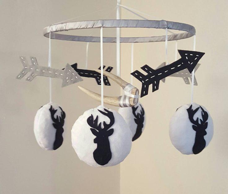 Austin - Deer Baby Mobile - Antler - Arrows - Navy Blue - White - Grey - Hunting - Rustic Country Boy Nursery - Minky - Crib Accessory by GraceAnnBaby on Etsy https://www.etsy.com/listing/254539491/austin-deer-baby-mobile-antler-arrows