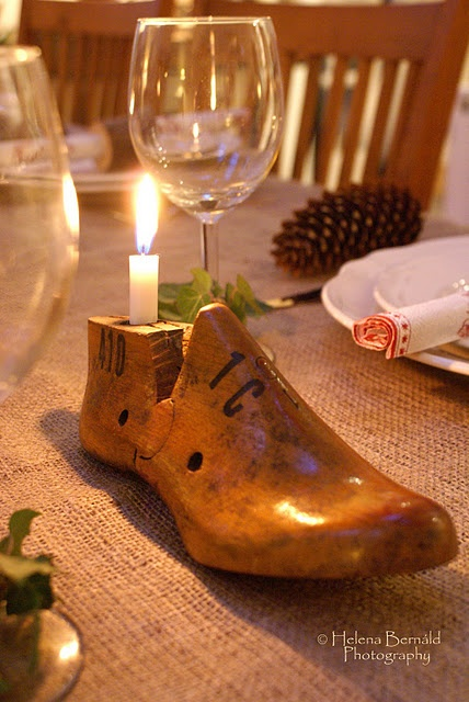 shoe last candle holder... I have 100 shoe lasts in my basement!!