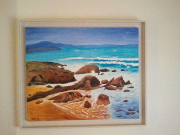 Óleo sobre lienzo. Mar y rocas