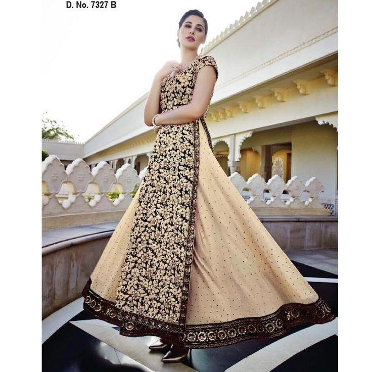 Nargis Fakhri Beige and Black Georgette #Anarkali Suits- $168.81