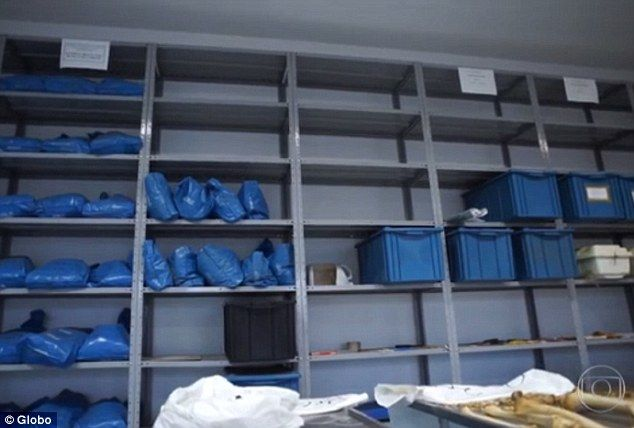 Storage:Mengele¿s bones were thrown unceremoniously into a blue plastic sack and kept under lock and key on a shelf in the São Paulo Police Legal Medical Institute (IML) morgue for more than 30 years