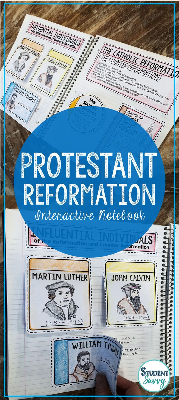 The Reformation Interactive Notebook! Protestant Reformation, Martin Luther, The Ninety-Five Theses, Catholic Reformation (Counter-Reformation), Spanish Inquisition, Jesuits, Ursuline Order, Council of Trent, John Calvin, William Tyndale, King Henry VIII, St. Ignatius of Loyola, Francis Xavier, St. Bartholomew's Day Massacre, Thirty Years' War, Edict of Nantes, Missionaries, Religious Wars, Social Changes and Effects of the Reformation and Much More!