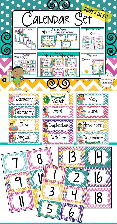 Classroom Calendar Set : Best images about classroom decorations girls class