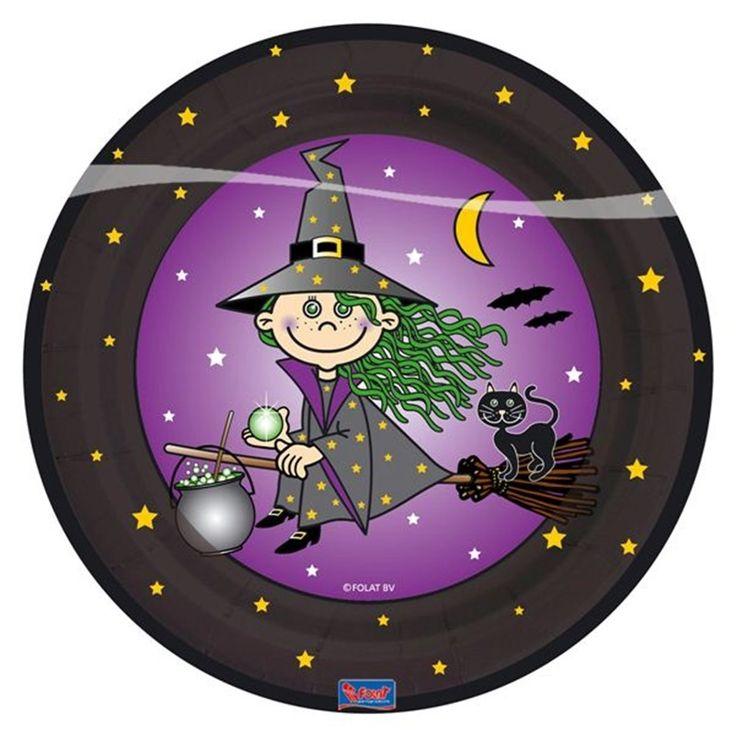 Talerzyki z motywem wesołej czarownicy - świetny pomysł na andrzejkową zastawę