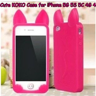 2pcs/lot Cute Silicon Soft KOKO Cat Back Cover Case for iPhone 5G 5 5S 4G 4 4S with Multi-color Free Shipping  $5.99
