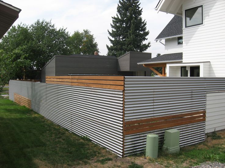 Sheet metal and wood fence fence pinterest - Modern house fence design ...