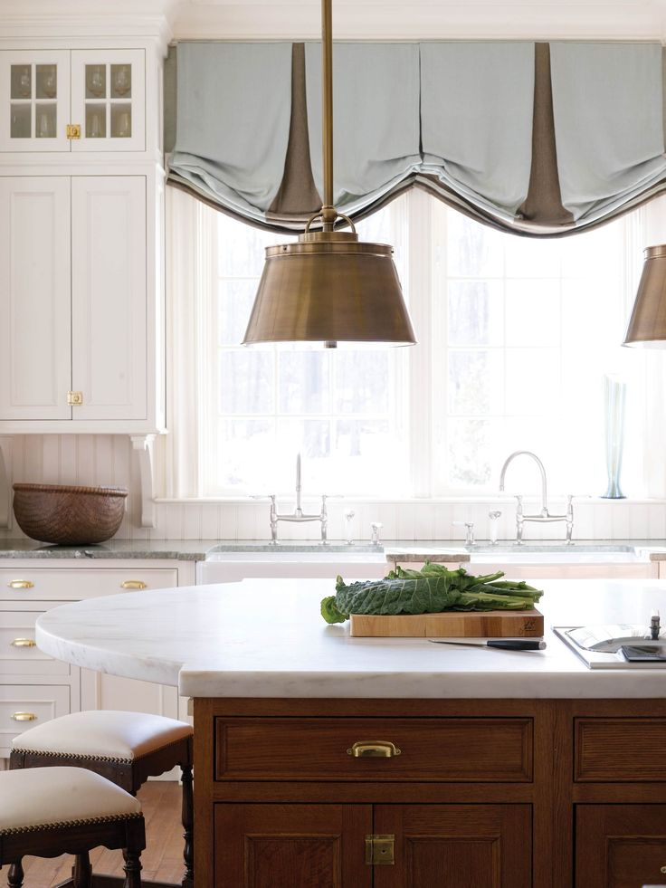 Dark island with oval marble top kitchens pinterest for Best window treatments for kitchens