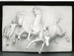 William Morris Hunt.The horses of Anahita, 1848/50 modeled(1882/1910 cast)//////////Sculpture/////I really like this relief scultpure because of how much the images are projecting out at you. The fact that they are projecting out at you emphasizes that there is a struggle going on or some kind of chaos.