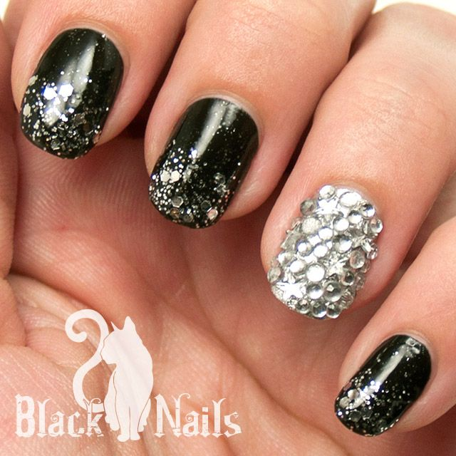 gothic nails | Black and Silver Gothic Winter Nail Art