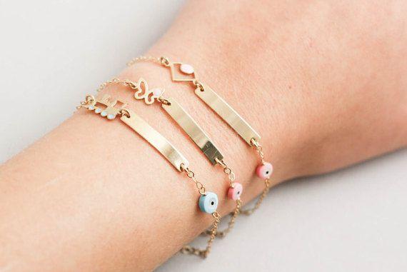 Baby ID Bracelet Newborn Bracelets Personalized Kids Gold