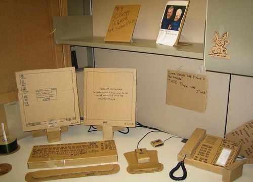 Replace everything on someone's desk with cardboard replicas...they look so real! #prank #officehumor