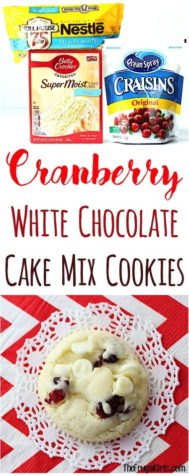 Cranberry White Chocolate Cake Mix Cookies Recipe! ~ from TheFrugalGirls.com ~ these festive little cookies are so easy to make and perfect for your Holiday Parties and Christmas Cookie Exchanges! Just 5 ingredients!! #recipes #thefrugalgirls